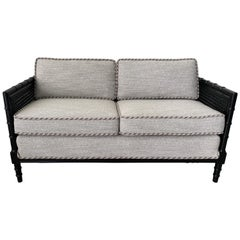 Black Faux Bamboo Settee in Scalamandré Black, White, and Gray Fabric, 1970s