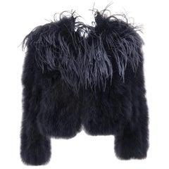 Black Feather Cropped Bolero Jacket