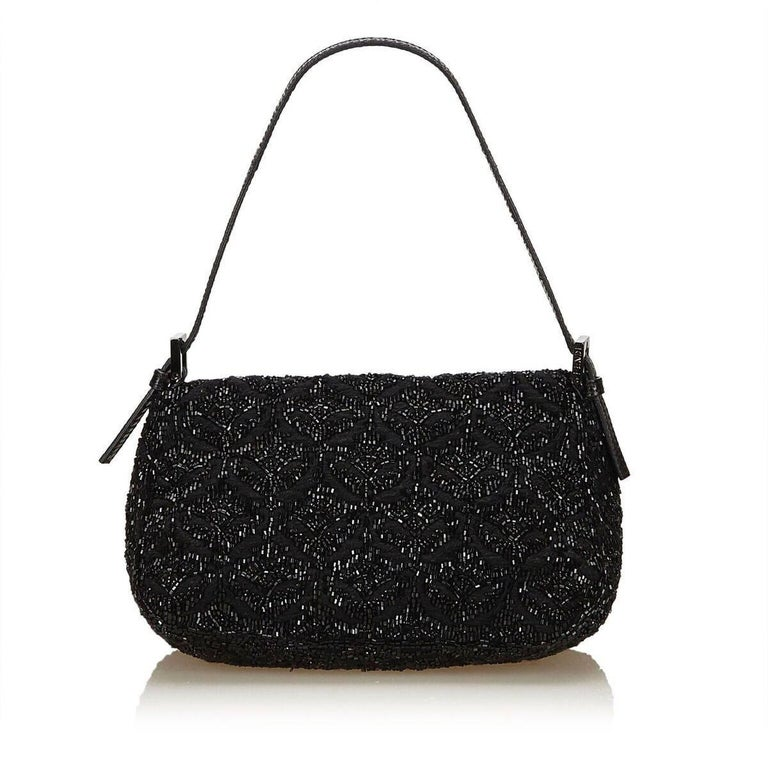 Black Fendi Beaded Baguette Shoulder Bag In Good Condition In New York, NY