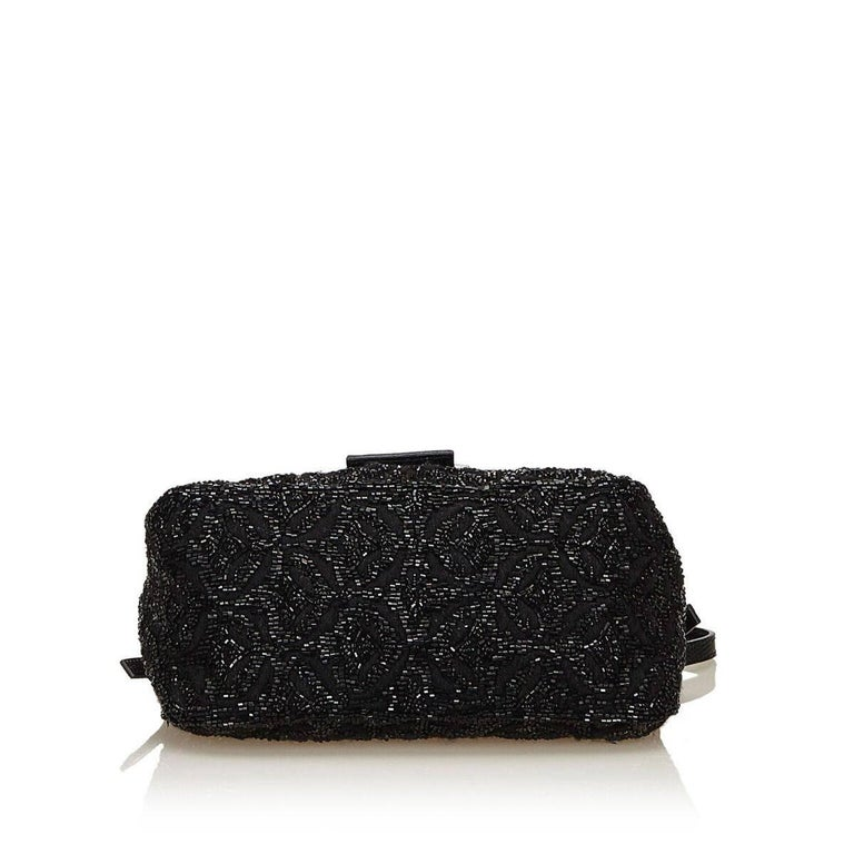 Women's Black Fendi Beaded Baguette Shoulder Bag