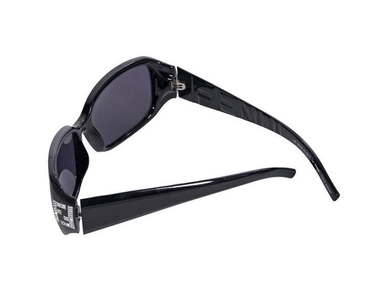 Fendi Black Rectangular Sunglasses In Good Condition In New York, NY