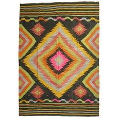 Black Field Color Pop Turkish Kilim