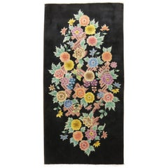 Black Field Floral Motif Art Deco Rug