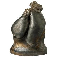 Black Figurative Stoneware Ceramic Sculpture by Jeanne Grandpierre La Borne