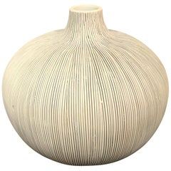 Black Fine Stripe On White Porcelain Vase, Thailand, Contemporary