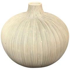 Black Fine Stripe On White Porcelain Vase, Thailand, Contemporary