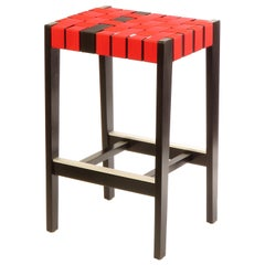 Black Finish Maple Bar Stool with Red & Black Woven Seat by Peter Danko