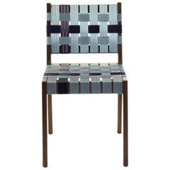 Black Finish Maple Side Chair with Two-Tone Blue Woven Seat & Back Made in USA