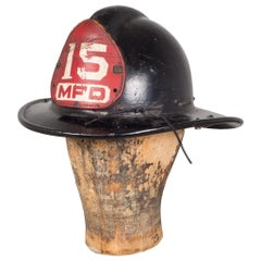 Black Fireman's Helmet with Leather Shield, circa 1940-1950