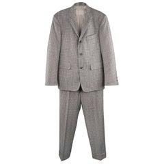 BLACK FLEECE 38 Gray & Blue Plaid Wool Notch Lapel Suit