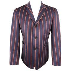 BLACK FLEECE 40 Navy Gold & Burgundy Stripe Wool Sport Coat