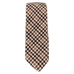 BLACK FLEECE Beige & Burgundy Houndstooth Wool Skinny Tie