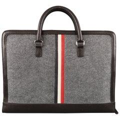 BLACK FLEECE Heather Gray Felt & Brown Leather Stripe Briefcase