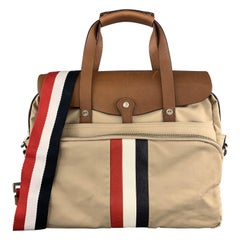 BLACK FLEECE Khaki & Tan Leather Red White & Blue Striped Men's Satchel Bag