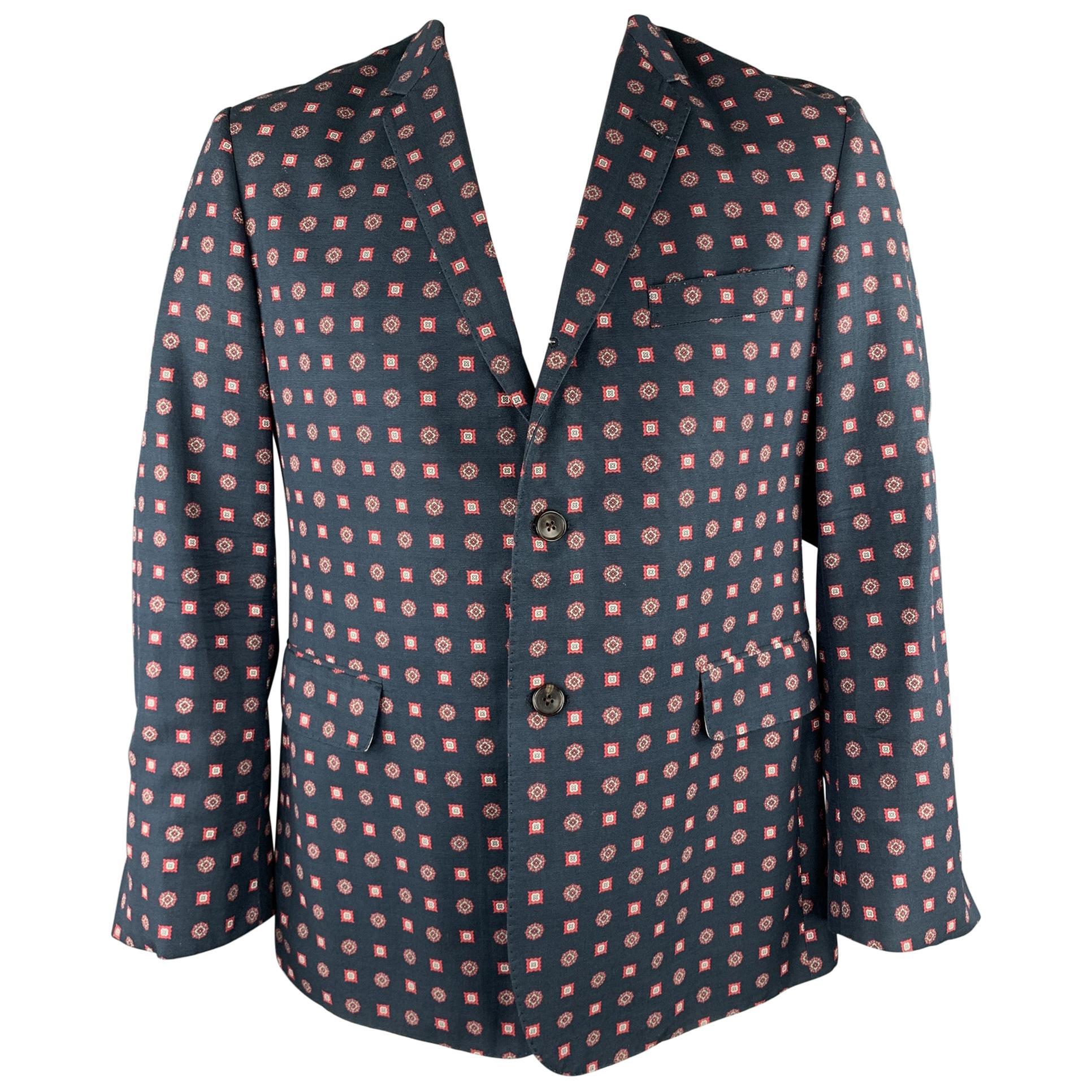 BLACK FLEECE Navy Print Cotton / Viscose Notch Lapel Sport Coat