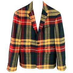 BLACK FLEECE Size 36 Multi-Color Plaid Wool Notch Lapel Suit