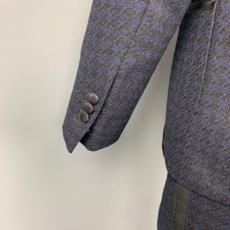 Men's BLACK FLEECE Size 38 Black & Navy Houndstooth Wool Tuxedo Suit For Sale