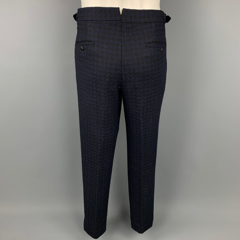BLACK FLEECE Size 38 Black & Navy Houndstooth Wool Tuxedo Suit For Sale 2