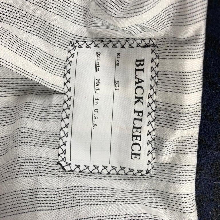 BLACK FLEECE Size 38 Black & Navy Houndstooth Wool Tuxedo Suit For Sale 5