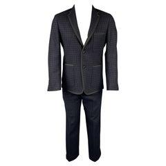 BLACK FLEECE Size 38 Black & Navy Houndstooth Wool Tuxedo Suit