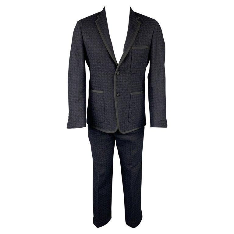 BLACK FLEECE Size 38 Black & Navy Houndstooth Wool Tuxedo Suit For Sale