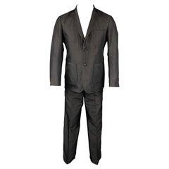 BLACK FLEECE Size 38 Black Silk Flat Front Notch Lapel Tuxedo Suit