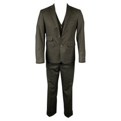 BLACK FLEECE Size 38 Charcoal Grid Wool Notch Lapel 3 Piece Suit