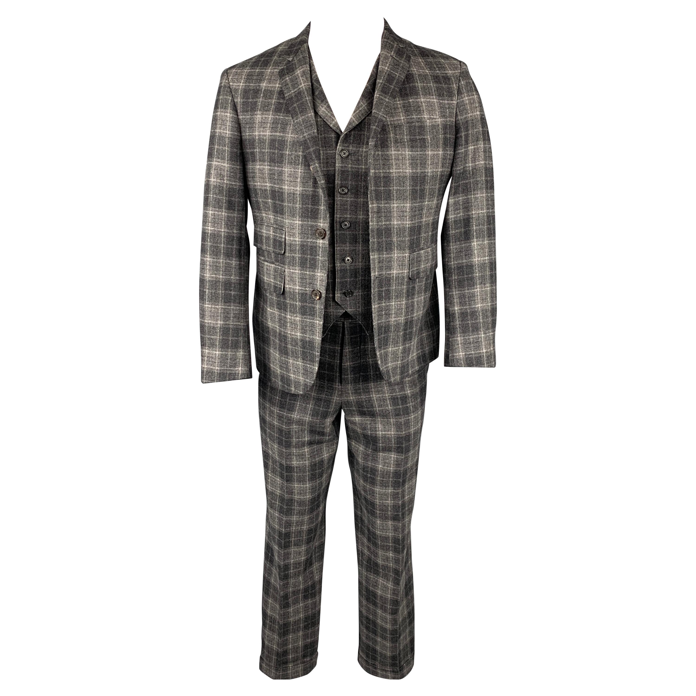 BLACK FLEECE Size 38 Dark Gray Plaid Wool / Cashmere 3 Piece Suit