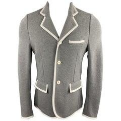 BLACK FLEECE Size 38 Grey Cotton Knit Contrast Trim Sport Coat
