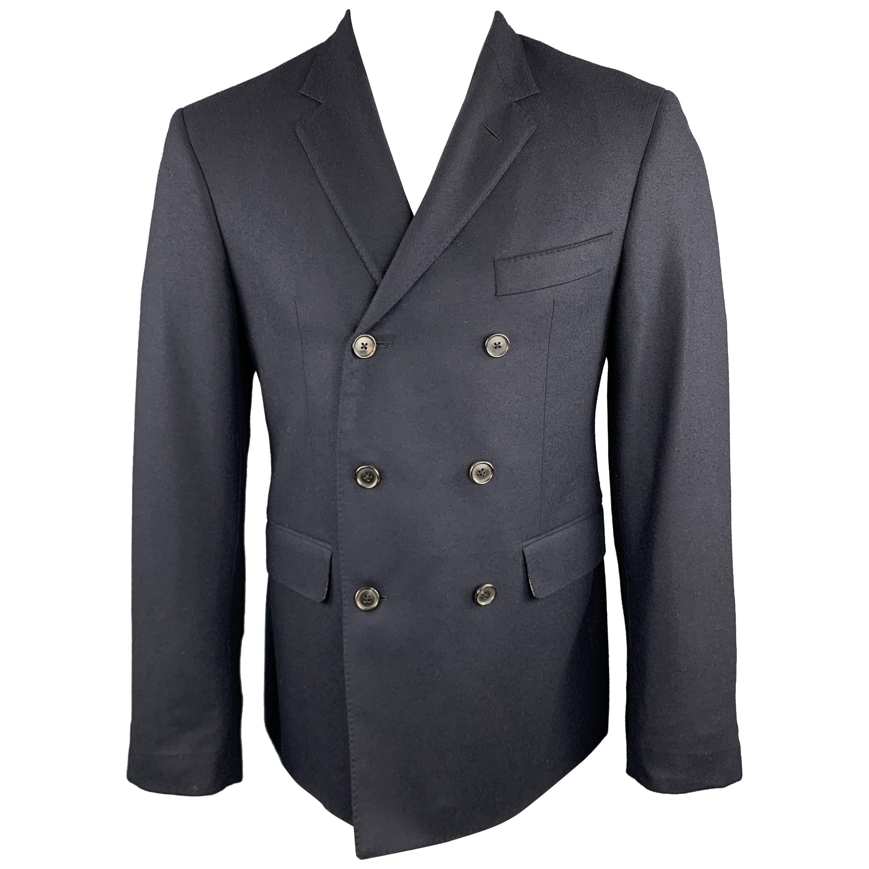 BLACK FLEECE Size 38 Navy Wool Double Breasted Notch Lapel Sport Coat