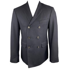BLACK FLEECE Size 38 Navy Wool Double Breasted Notch Lapel Sport Coat