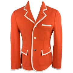 BLACK FLEECE Size 38 Orange Cotton Knit White Contrast Piping Sport Coat