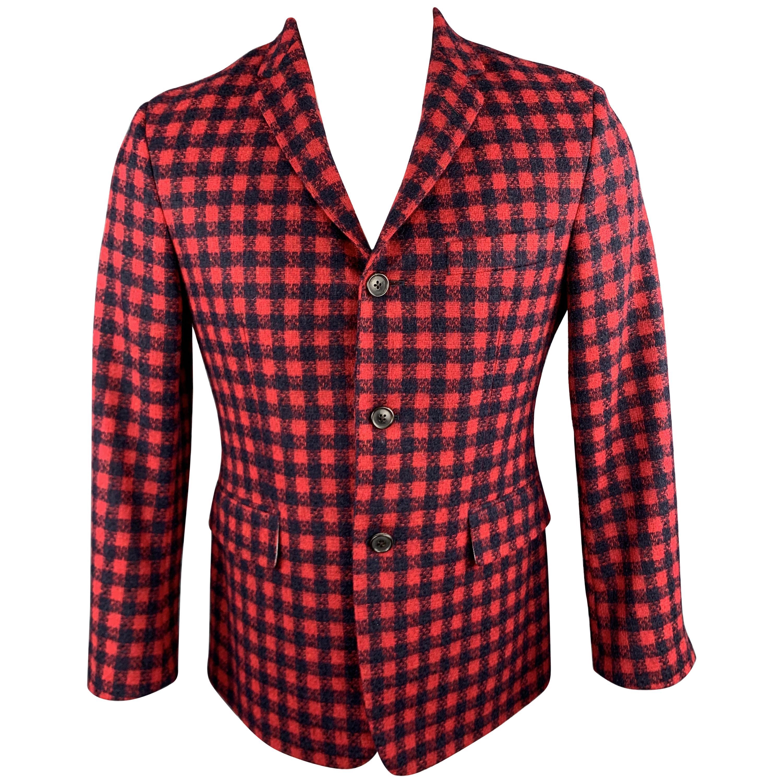 BLACK FLEECE Size 38 Red & Navy Checkered Plaid Tweed Sport Coat