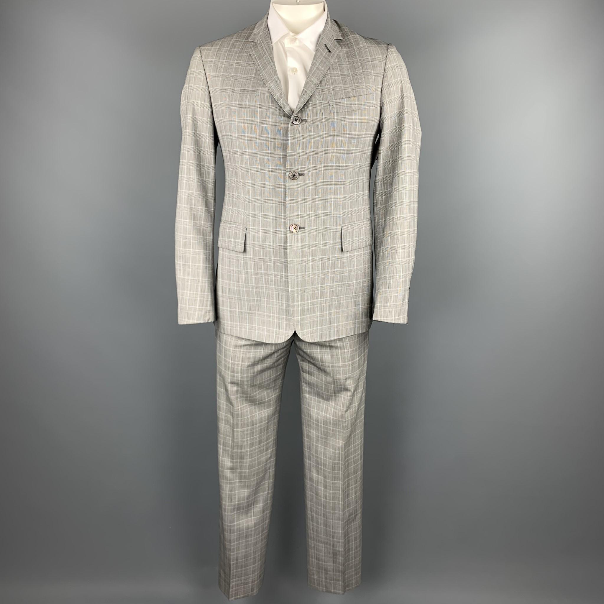 BLACK FLEECE Size 40 / BB2 Grey Glen plaid Wool Notch Lapel Suit