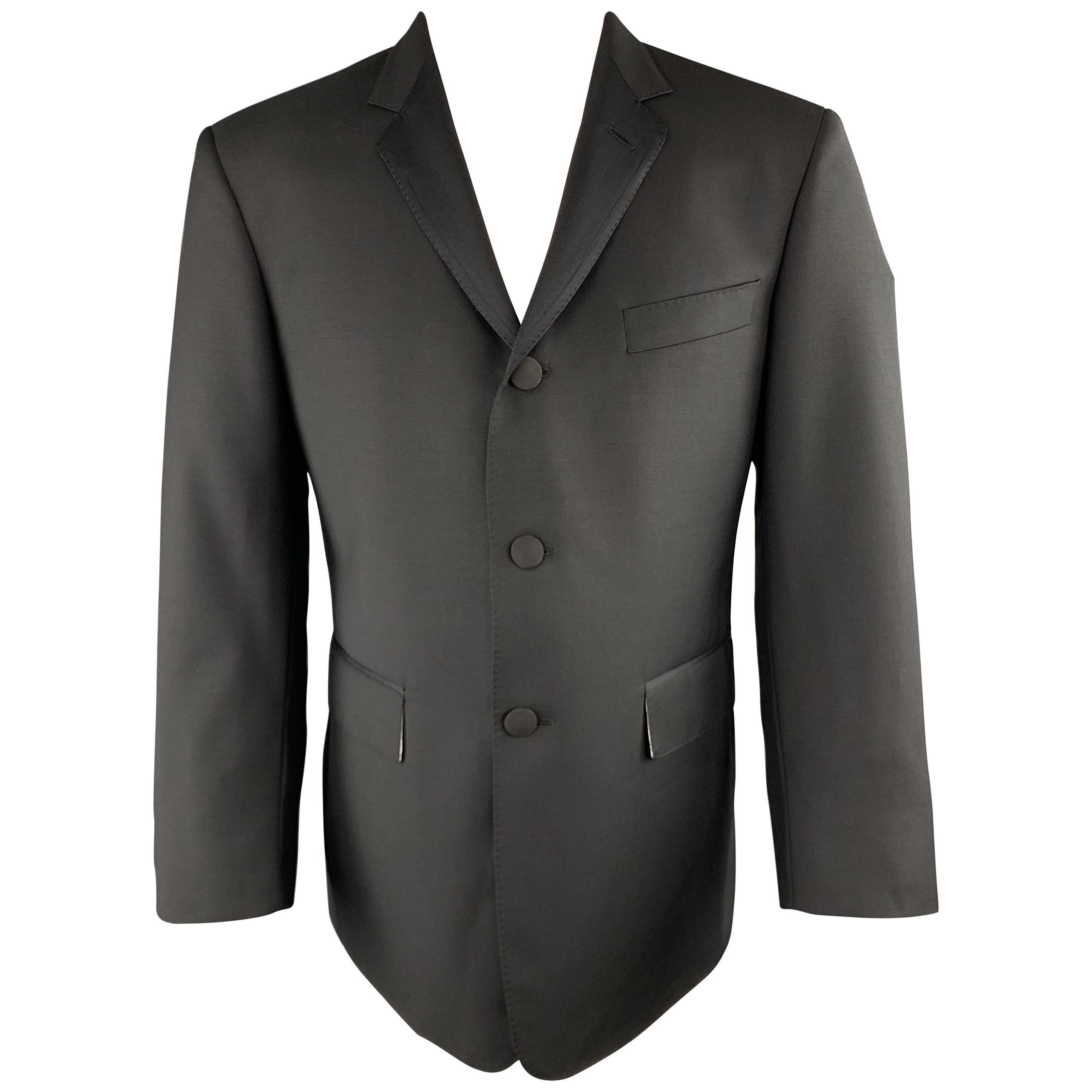 BLACK FLEECE Size 40 Black Wool Faille Notch Lapel Sport Coat