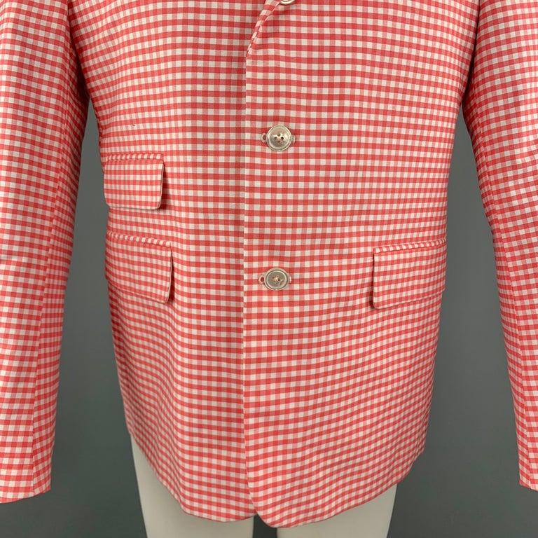 Pink BLACK FLEECE Size 40 Coral & White Checkered Cotton Notch Lapel Sport Coat For Sale