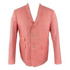 BLACK FLEECE Size 40 Coral & White Checkered Cotton Notch Lapel Sport Coat
