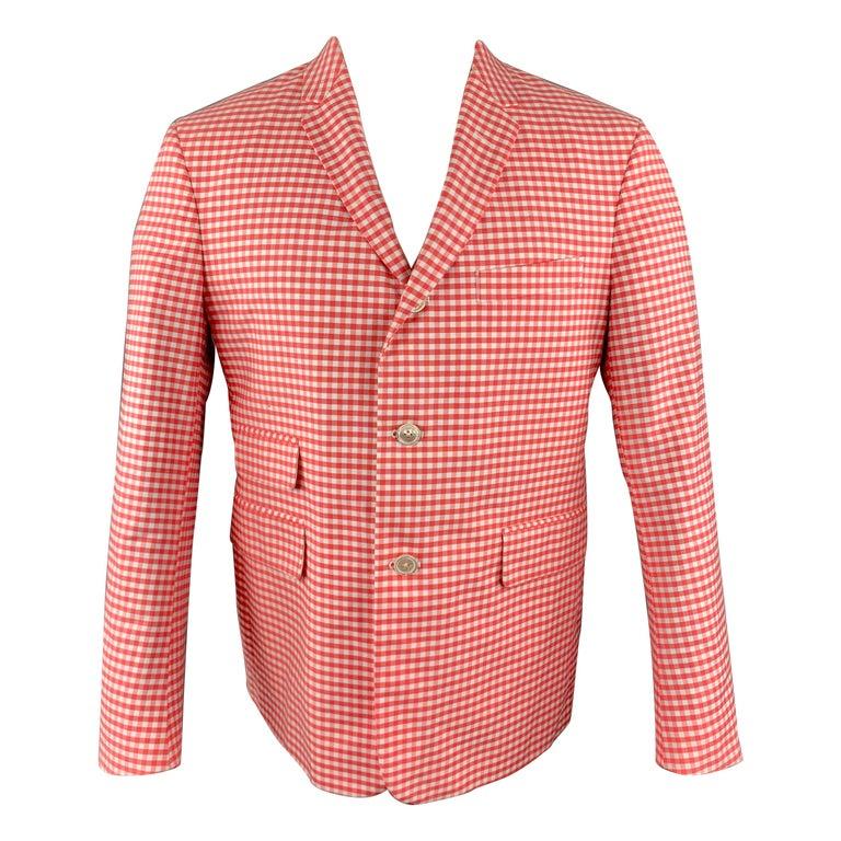 BLACK FLEECE Size 40 Coral & White Checkered Cotton Notch Lapel Sport Coat For Sale