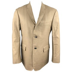 BLACK FLEECE Size 40 Khaki Linen Notch Lapel Sport Coat
