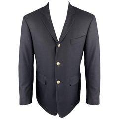 BLACK FLEECE Size 40 Navy Wool Notch Lapel Metal Buttons Sport Coat