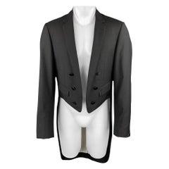 BLACK FLEECE Size 42 Black Wool Open Front Tail Coat