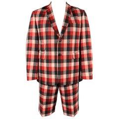 BLACK FLEECE Size 42 Red & Grey Plaid Wool Notch Lapel Shorts Suit