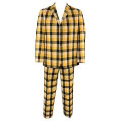 BLACK FLEECE Size 42 Yellow & Grey Plaid Wool Notch Lapel Suit