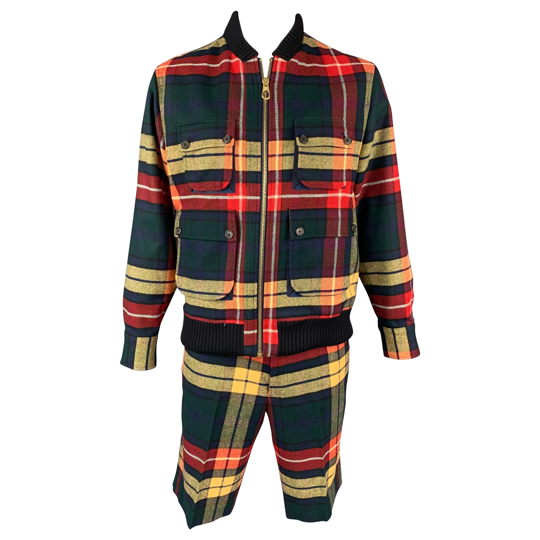 BLACK FLEECE Size 44 Multi-Color Plaid Wool Zip Up Jacket & Shorts Set