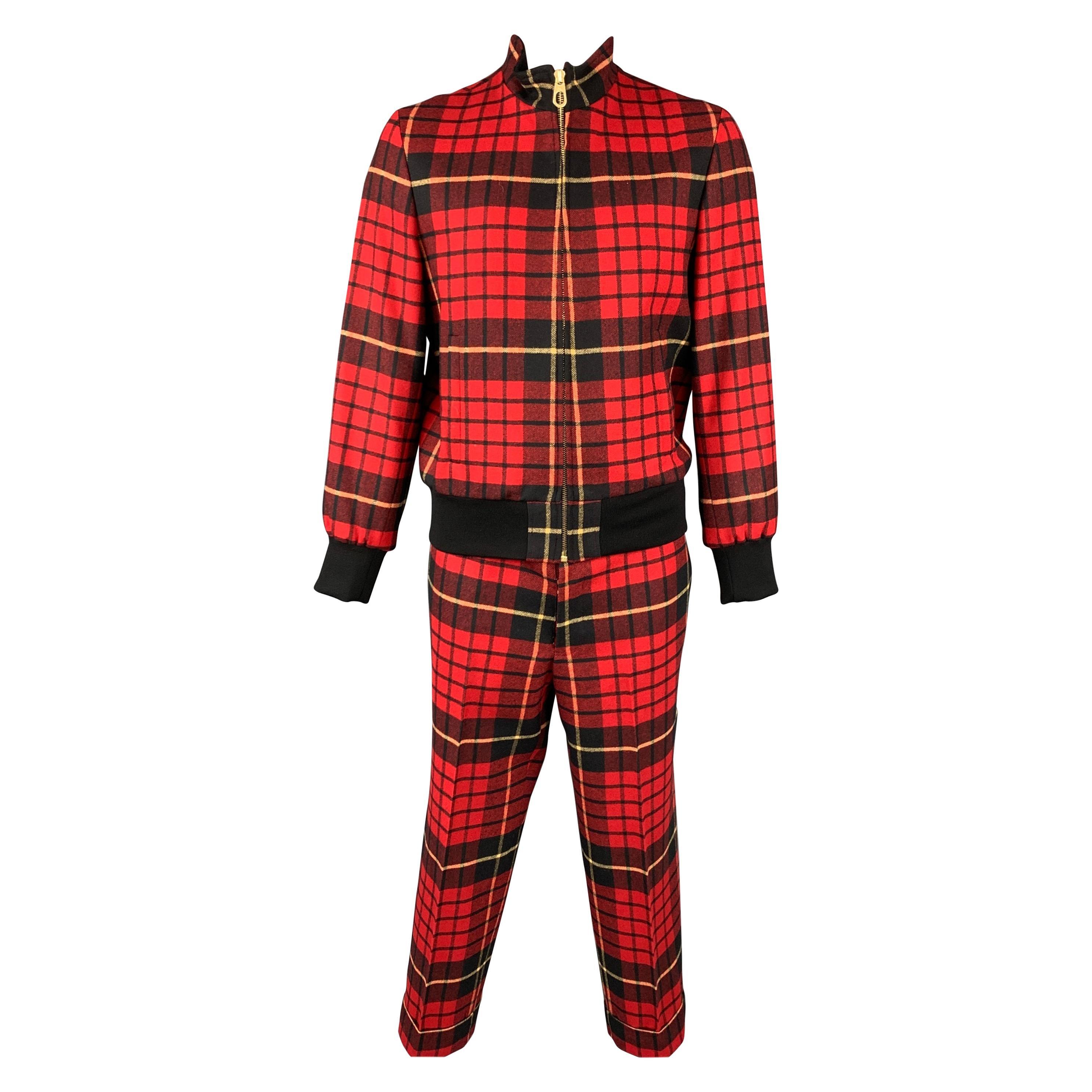 BLACK FLEECE Size 44 Red & Black Plaid Wool Zip Up Jacket & Pants Set