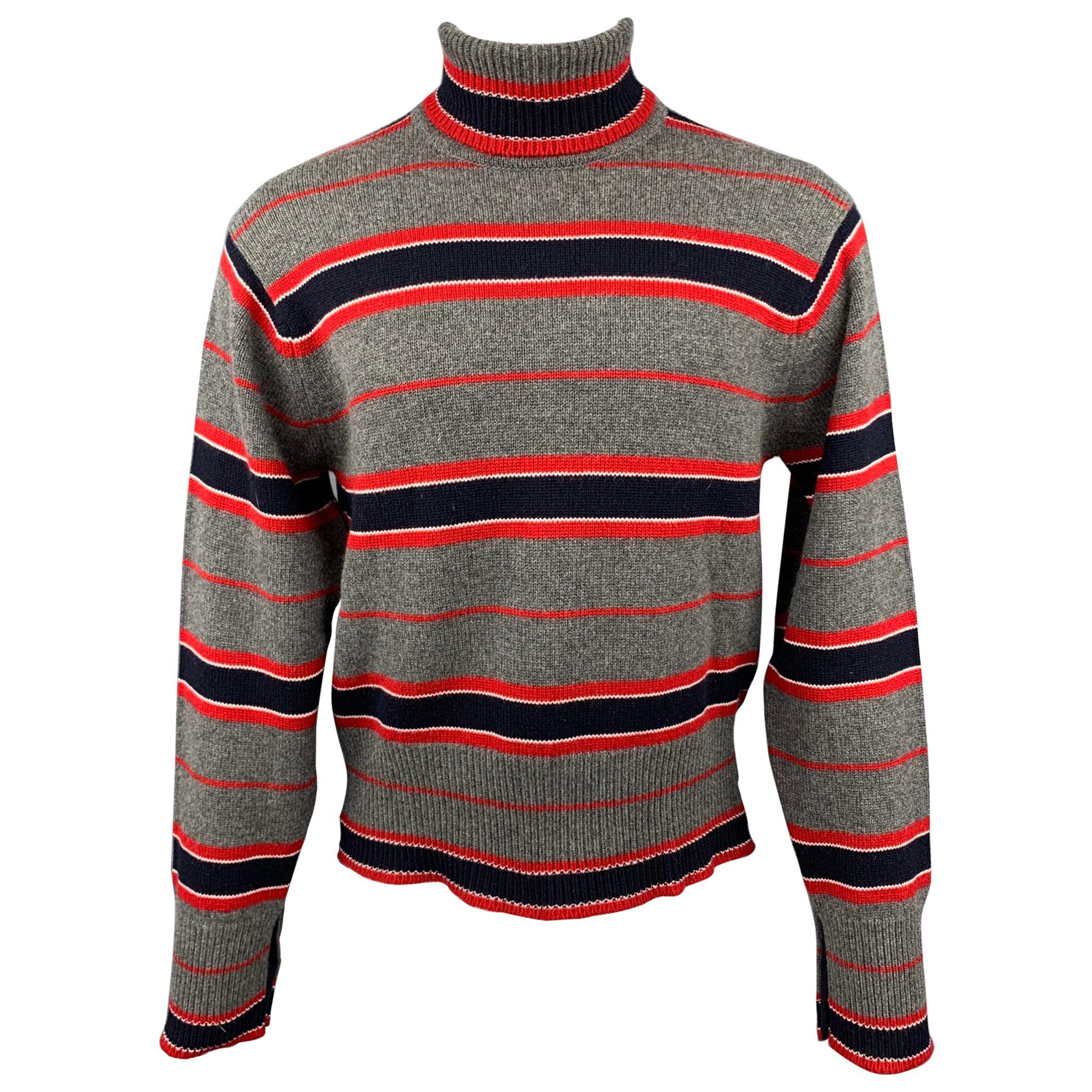 BLACK FLEECE Size L Grey & Navy Stripe Cashmere Turtleneck Sweater