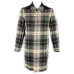 BLACK FLEECE Size M Gray & White Plaid Wool Buttoned Coat