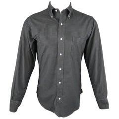 BLACK FLEECE Size S Green & Navy Gingham Cotton Long Sleeve Shirt