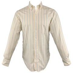 BLACK FLEECE Size S White Stripe Cotton Button Down Long Sleeve Shirt