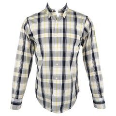 BLACK FLEECE Size S Yellow Navy & White Plaid Cotton Long Sleeve Shirt